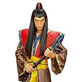 NET TOYS Schwarze Asia Herren Perücke Samurai Chinese Japaner Asiate schwarz Samuraiperücke...