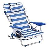 SONGMICS Strandstuhl mit Kopfkissen, Aluminium, tragbarer Klappstuhl, Campingstuhl, faltbar und...