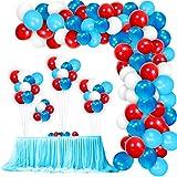 Colmanda Blau Luftballon Girlande Kit, 110 Stück 12 Zoll Luftballons Blau Rot Weiss mit...