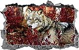 Wandtattoo Wandaufkleber Wolf 3D Aufkleber Aufkleber Dekoration Tier Wandbild