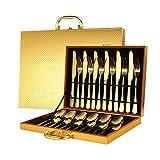 DDPHC 24 Teile/los Goldene Edelstahl Steakmesser Gabel Set Gold Besteck Holz Geschenkbox