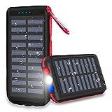 XINSL Powerbank Solar 25000mAh Solar Ladegerät Externer Akku Wasserabweisende tragbares Ladegerät...