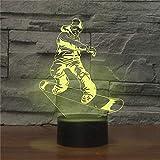 3D Illusion Lampe Skate Boy LED Nachtlicht USB Powered 7 Farben Blinkende Touch Switch Schlafzimmer...