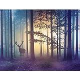 Fototapete Wald Hirsch Nebel 352 x 250 cm Vlies Tapeten Wandtapete XXL Moderne Wanddeko Wohnzimmer...