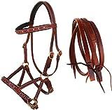 CHALLENGER Western-Zügel für Pferde, gebisslos, Leder, Perlen, 77RS06PK-F