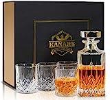 KANARS 5-teiliges Whiskey Karaffe Set, 750ml Whisky Dekanter mit 4x 300ml Gläser, Bleifrei...