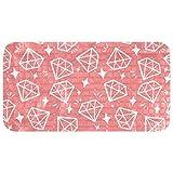 Yoliveya Rutschfeste Badewannenmatte mit weißen Diamanten auf rosa Hintergrund, Duschmatten mit...
