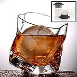 PFLife Whiskyglas Set im Einzigartigen Design, mit Eiskugelform und Grußkarte, 330ml Whiskeyglas...
