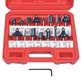 flintronic Fräser-Set, 6.35mm Fräsen Werkzeug Set 15-tlg Holzkoffer Geschmiedeter Werkzeugstahl...