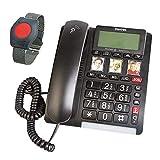 ELDAT Easywave APF01: Hausnotruf Telefon mit Notruf Armband; Festnetztelefon schnurgebunden mit...