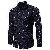 SALEBLOUSE Herren Bedruckte Hemden Mit Knöpfen Turndown Kragen Langarm Formale Business Shirts...
