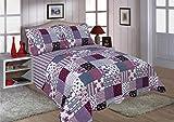 Restmor Tagesdecke Steppdecke mit Quilt Patchwork Design, Zweiseitig - Gesteppter Bettüberwurf -...