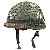 D-JIU US-Soldat M1 Helm Net Heavy Grün Tactical Helm Reproduktion Webbing Cover/Leinwand Kinnriemen
