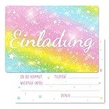 15 x Einladungskarten Kindergeburtstag Regenbogen Glitzer - Größe A6 - Coole Einladung zum...