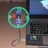 Attoe USB Ventilator,Lüfter zeigt Uhrzeit und Temperatur an,RGB-Version Mini-USB-LED-Lüfter mit...