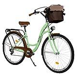 Milord. 28 Zoll 7-Gang, Mint grün, Komfort Fahrrad mit Korb und Rückenträger, Hollandrad,...