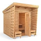 ISIDOR Outdoorsauna Saunakabine Sauna 2x2m Massivholz Pultdach (inklusive HARVIA BC80)