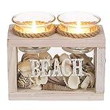 Deko Kerzen Set mit 2 Glas Teelichthaltern und Streudeko aus Muscheln, Material: Glas, Holz und...