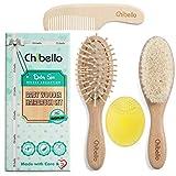 Chibello 4 Stück Holz Baby Haarbürste und Kamm-Set | natürliche Ziege Borsten Bürste | Holz...