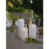 KAMACA Outdoor LED Kerzen im 3er Set batteriebetrieben inkl. Timer Kerze flackernd für Innen und...