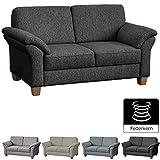 CAVADORE 2-Sitzer Byrum im Landhausstil / Groe Couch mit Federkern / 156 x 87 x 88 / Grau