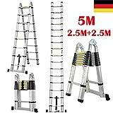 Teleskopleiter 5M Klappleiter Schiebeleitern & A Rahmen Mehrzweckleiter mit Rutschfest Sttzstange...