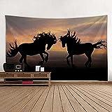 KHKJ Zwei Pferde Digital gedruckte Tapisserie Strand Picknick Teppich, Möbel Dekoration Wohnzimmer...
