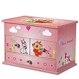 SONGMICS Musikspieldose, Spieluhr, Schmuckkstchen mit Schubladen und Spiegel, Aufbewahrung, Geschenk...