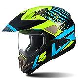 BBJZQ Motorrad Crosshelm mit visiere Streifenmuster Motocross Helm Kinder Fullface MTB Helm Off Road...