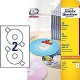 AVERY Zweckform L6043-25 selbstklebende CD-Etiketten (50 blickdichte CD-Aufkleber, Ø 117mm auf A4,...