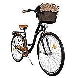 Milord. Komfort Fahrrad mit Rückenträger, Hollandrad, Damenfahrrad, 1-Gang, Schwarz-Braun, 28 Zoll