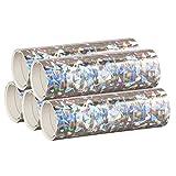 Silber Metallic Luftschlangen im 5er Sparpack - 5 Rollen mit je 18 holografisch-glitzernden...