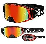 TWO-X Rocket Crossbrille Crush schwarz rot Glas verspiegelt Iridium MX Brille Nasenschutz Motocross...