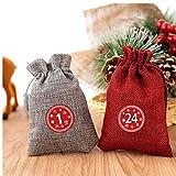 Adventskalender Taschen 24 Tage Burlap Hanging Kordelzug Beutel für Weihnachtszucker Geschenk 24PCS...