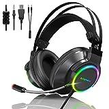 Manwe Gaming-Headset, 3D Surround Sound Gaming Headset, Kabelgebundenes Gaming Kopfhörer mit...