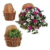 Relaxdays Wand Blumentopf, 3er Set, natürliches Holz, Pflanzengefäß für draußen, Deko zum...