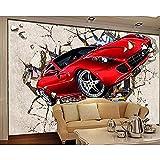 Fototapete Tapete Benutzerdefinierte,Benutzerdefinierte Tapete 3D Wandbild Auto Broken Wall Out Tv...