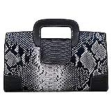 ZLM BAG US Damen Handtasche im Vintage-Stil, mit Klappe und Tragegriff, PU-Leder, (Y-black),...
