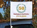 Autoflagge/Autofahne  bedruckt Goldene Hochzeit' mit Ihren Namen und dem Datum
