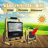 Solar LED Flutlicht Tragbare Baustrahler Akku Strahler, 3 Aufladungsmglicheiten Wasserdicht...