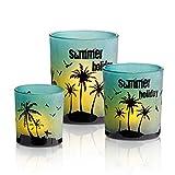 HOMMAX Teelichthalter, 3er Set Windlicht aus Glas,Sonnenuntergang und Sandstrand Kerzenhalter,...