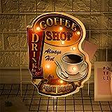 FSVEYL Leuchtschilder Coffee Wanddekorationen,Vintage Vintage Handgefertigtes Festzelt Geprägtes...