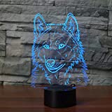 Only 1 piece Wolf 3d Lamp Seven Color Touch Charging Gradual Led Usb Visual 3d Light Fixtures Gift...