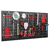 FIXKIT Werkzeuglochwand aus Metall mit 17 teilge Hakenset 120 x 60 x 2 cm, Werkzeugwand Lochwand...
