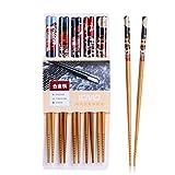 5 Paar Set Essstäbchen Japanische Natur Chopsticks aus umweltfreundlichem Bambus-Holz in edler...