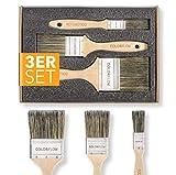 Colorflow® Lasurpinsel Set 3-teilig - Hochwertige Flachpinsel - Pinsel zum Holz streichen - Pinsel...