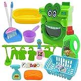 17 PCS Wischer Set Kinder Waschmaschinen Puppenzubehör Set, Cartoon Großer Mund...
