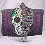 BOBONC Purple Skull ThemeHome Hooded Throw Wrap Microfaser Soft-Mantel Wohndecke Winter Computer...
