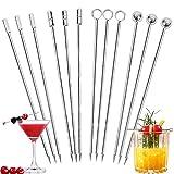 Metall Cocktailspieße Edelstahl 12 Stück Cocktailrührer Obst-Sticks Cocktail Sticks...