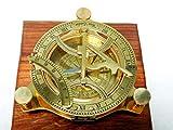 Kompass mit Sonnenuhr, Messing, 10,2 cm, voll funktionsfhig, zur Navigation, maritim, antiker...
